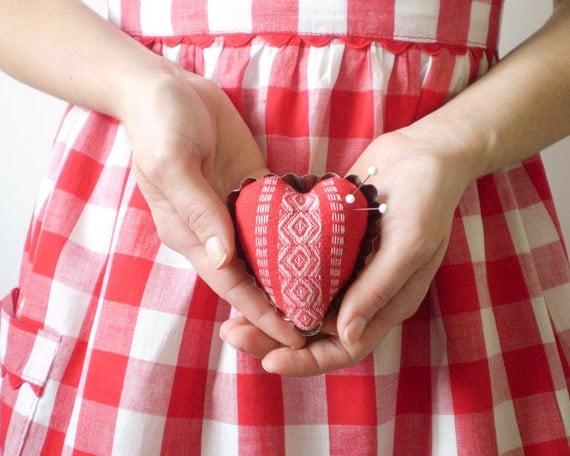 Petite Heart Pincushion - Rustic Red Cotton, Vintage Swedish Tartlet Tin