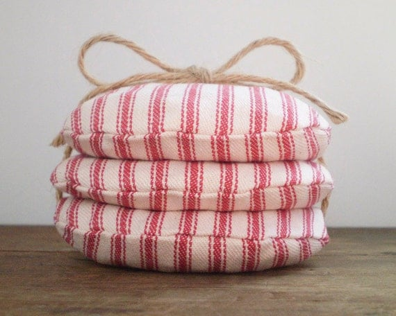 Carnival Game Beanbags - Picnics, Parties, Wedding Receptions - Flag Stripe Cotton Ticking, Set of 3