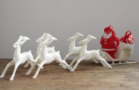 Vintage 50s Plastic Reindeer and Santa's Sleigh Decoration - Retro Christmas, Mfg. by Rosbro Plastics