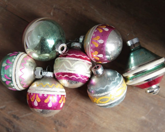 Vintage 50s Glass Ball Ornament Collection - Silver, Pink, Green Christmas Shimmer, Lot of 7