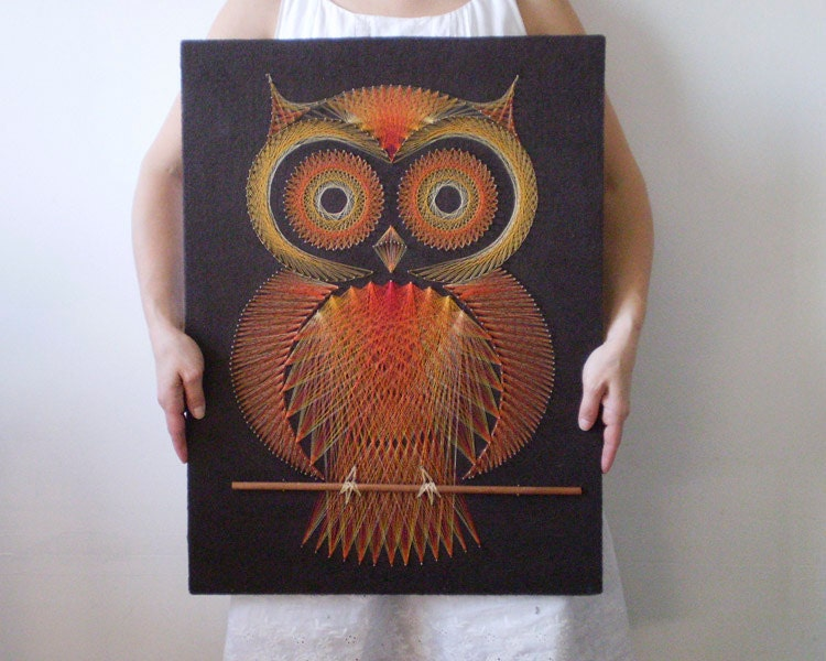 Vintage String Art Owl Modern Geometric Thread Design 18 X