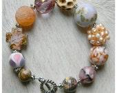 Ophelia... Variety of Precious Stones, Pastel Colors, Abstract Medley. Jasper, Sun Stone, Carved Bone, Etc.