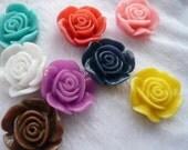 Big Rose 19mm Resin Cabochons -  10