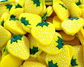 Yellow Strawberry Flat Back Resins - scarlettess