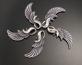 Antique Silver Pendant Wing Charms (3)