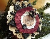 Handmade Christmas Tree Ornament in Black and Burgundy, with Vintage Buttons - Small