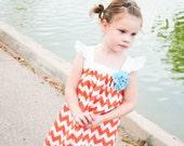 Girls Orange/White Chevron Dress  Sizes 12 mo 2T 3T (other sizes available)