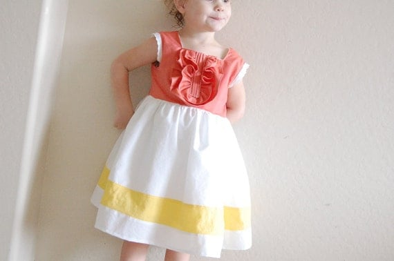 Girls Square Neck Dress in Coral/White/Sage Green Cotton  12 mo 2T 3T 4T