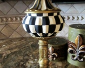 Check Harlequin Lidded Finial hand painted