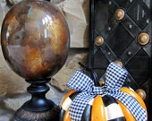 Halloween Fall Black White Orange Check Striped Pumpkin