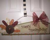 Turkey Thanksgiving Door Hanger Decoration w Leopard Tulle ribbon