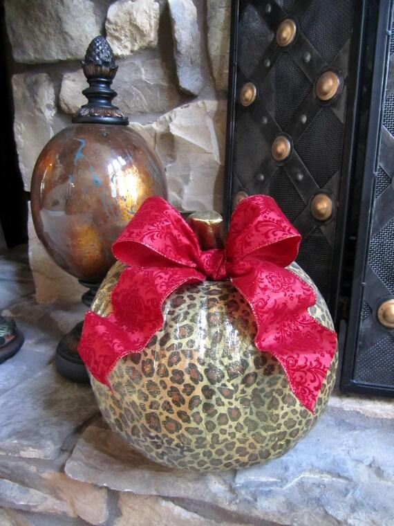 Leopard Animal Print Pumpkin For Fall Halloween Thanksgiving