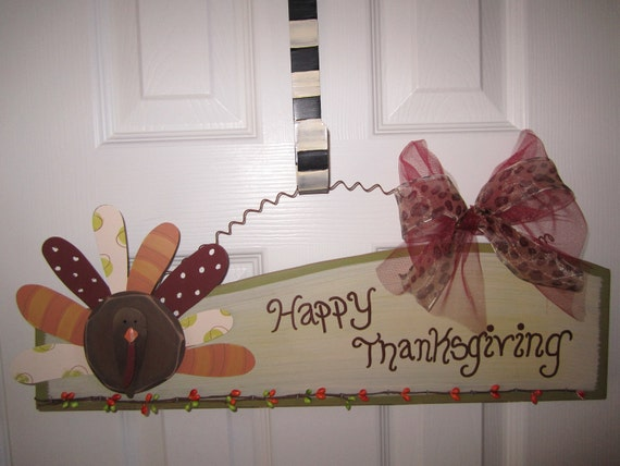 Turkey Thanksgiving Door Hanger Decoration w Leopard Tulle ribbon