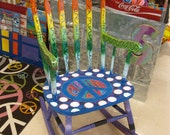 PEACE OUT Handpainted Teacher Reading Rocking Chair  --- Chalkboard paint on top Write your own saying---Ready to SHIP