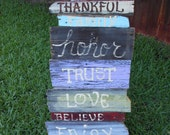 Jez4U Custom Order Family Words Sign on reclaimed fence pickets Pick your own words and colors