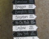 "Street Signs 17"" X 4"" Hand painted places you have visited  your colors &  your places/miles"