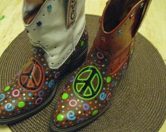 Jez4U Special Order for Cowgirl Day At School Handpainted Boots Customer send me your boots