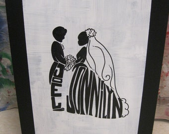Jez4U Special Order on Big Canvas B E S T Wedding GIFT Silhouette Personalized with First names Married Name