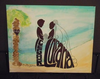 "Wedding silhouette Special Order for you 16"" X 20"" Gallery Wrapped Wedding Silhouette with BeAcH background or your theme"