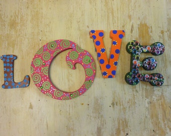 Jez4U Custom Whimsy Hand painted Letters Wood Paper Mache and Foam Letters  Listing is for a four letter name or word