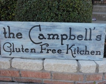 """Kitchen Gluten Free HandPainted Sign 32"""" X 11"""" Your Quote and colors"""