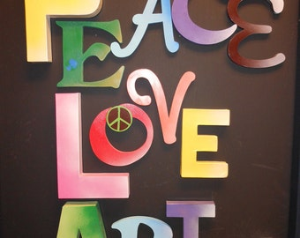 Jez4U Custom Whimsy 12 Hand painted Letters Wood Paper Mache PEace LOVE Art Ready To Ship