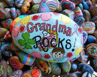 MEDIUM Hand painted Medium Garden Rock for Grandma Special Order in your colors your name your ideas