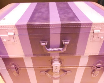 Jez4U Custom Hand painted Suitcase Purple one Ready To Ship Top one in pictures