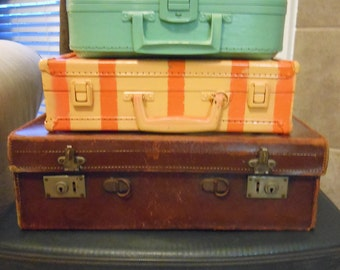 Jez4U Vintage Stack of all 5 suitcases pictured here bottom 2 have a key