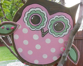 OWL Adorable Sign for baby girl as door announcement at hospital and then to hang in baby nursery