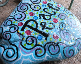 Jez4U Custom Hand painted PEACE Garden Rock for Grandma or mom Special Order