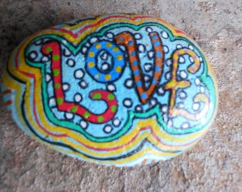 Jez4U Custom Hand painted LOVE on a Small Garden Rock for Special Order