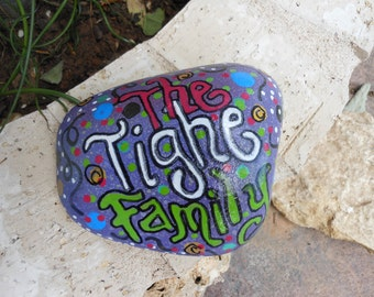 Jez4U Custom Hand painted Family Name on a Small Garden Rock for Special Order