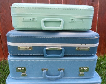 Jez4U Custom Vintage Green Suitcase for your Wedding Treasures or home decor Ready to Ship