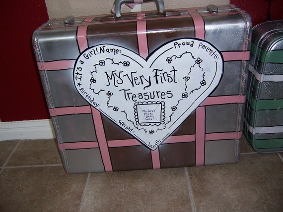 Jez4U Custom Hand painted Suitcase for Natalie(Baby Suitcase with birth info and quote in heart)