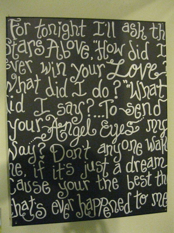 """Jez4U Custom Canvas 16"""" X 20"""" for you with your favorite song or quote tell me the words at notes section at checkout"""