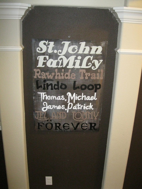 Family ART 2' X 4' on Sturdy Rustic Wood You choose... Street names Family names Places lived Addresses you design it and I will paint it