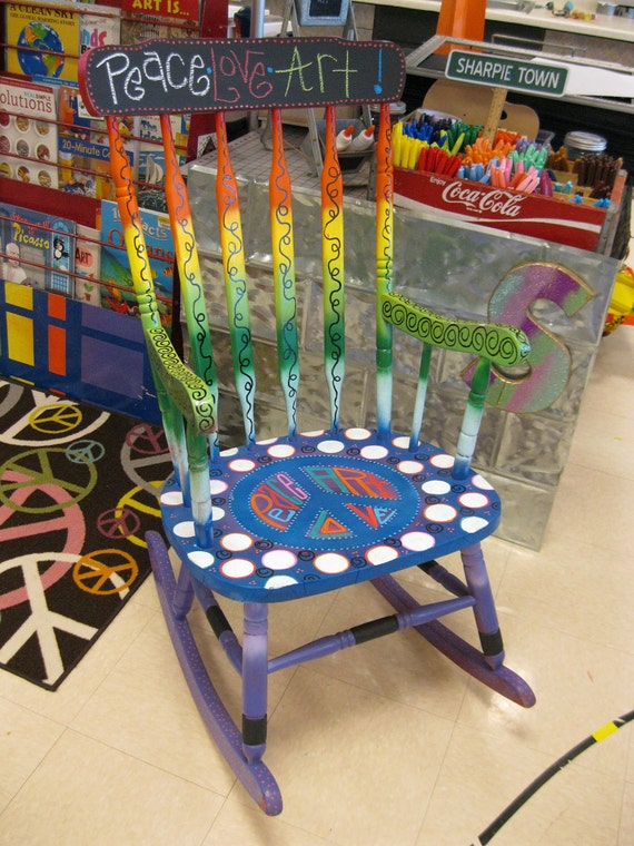 Peace Out Handpainted Teacher Reading Rocking Chair