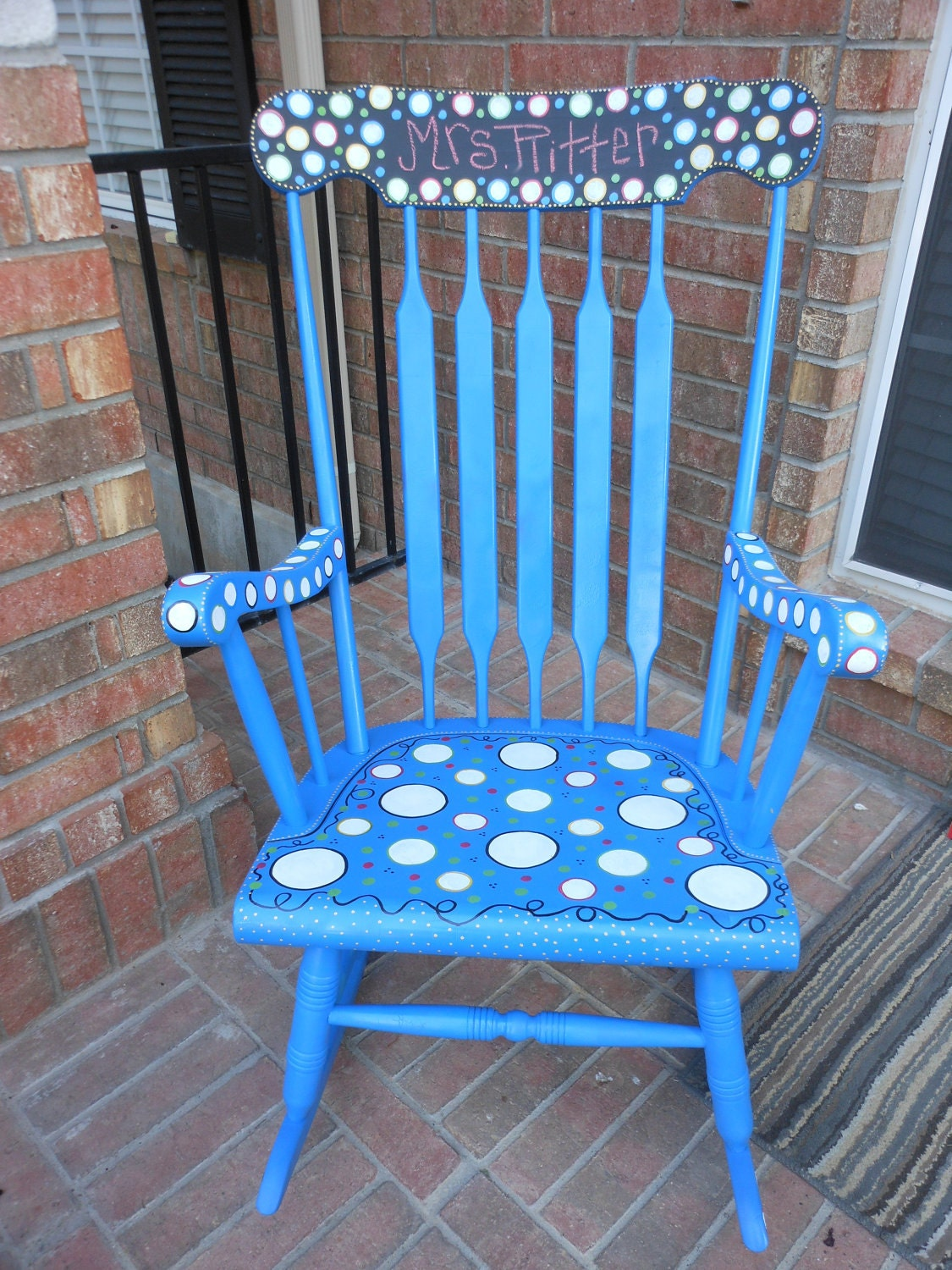 rocking chair antique and painted custom by mrsstjohnsartcamp