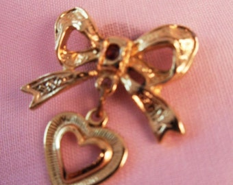 Vintage Victorian Revival Gold Bow Pin w/ Garnet And Heart