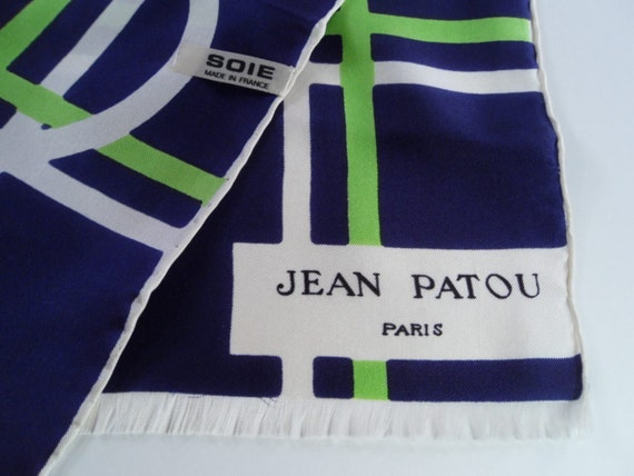 JEAN PATOU of Paris Abstract Geometric  Long Silk Scarf Vintage 60s