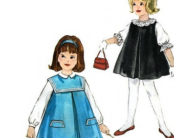 Simplicity 4568 Vintage 60s Girls' Jumper and Blouse Sewing Pattern - Uncut - Size 5 - Breast 23.5