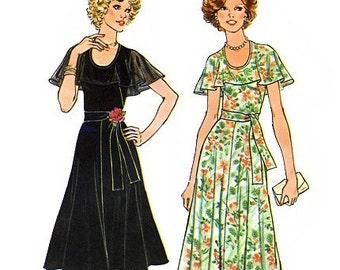 Simplicity 7382 Vintage 70s Misses' Dress Sewing Pattern - Uncut - Size 10 - Bust 32.5