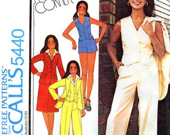 McCall's 5440 by Marlo Thomas Misses' and Junior Unlined Jacket, Vest, Skirt and Pants or Shorts Sewing Pattern - Uncut - Size 14 - Bust 36