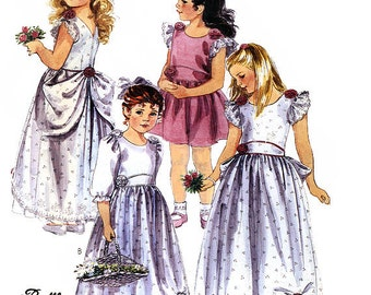 McCall's 4129 by Ruffles and Lace Vintage 80s Girls' Gown or Dress Sewing Pattern - Uncut - Size 6