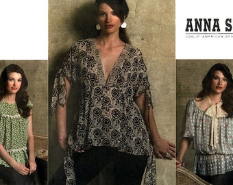 Vogue American Designer V2947 Sewing Pattern by Anna Sui for Misses' Blouse - Uncut - Size 6, 8, 10, 12