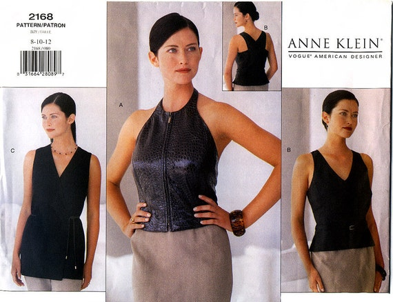 Vogue American Designer 2168 Anne Klein Misses' Tops Sewing Pattern - Uncut - Size 8, 10, 12