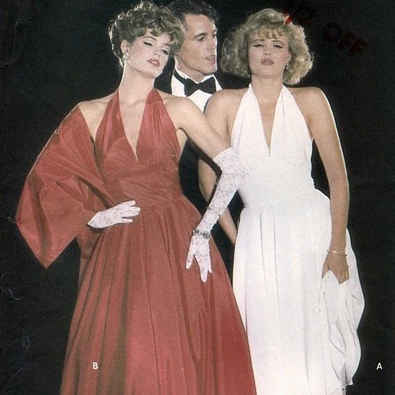 Butterick 6202 Vintage 1980s Misses' Marilyn Monroe Dress and Shawl Sewing Pattern - Uncut - Size 16 - Bust 38