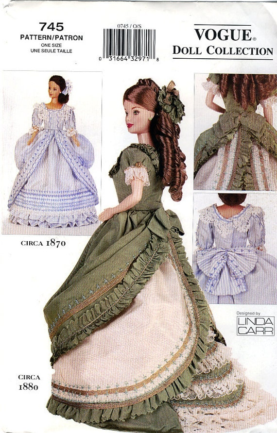 """Vogue 745 Historical c.1870-1880 Clothes for Fashion Barbie 11.5"""" Doll by Linda Carr Sewing Pattern - Uncut"""