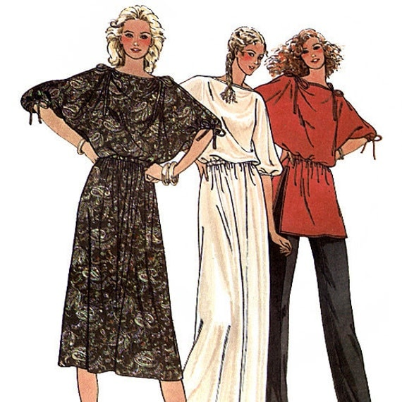 Butterick 6363 Vintage 80s Misses' Dress, Tunic and Pants Sewing Pattern - Uncut - Size 6, 8, 10